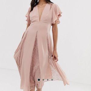 ASOS Dusty pink modi dress with lace patterns